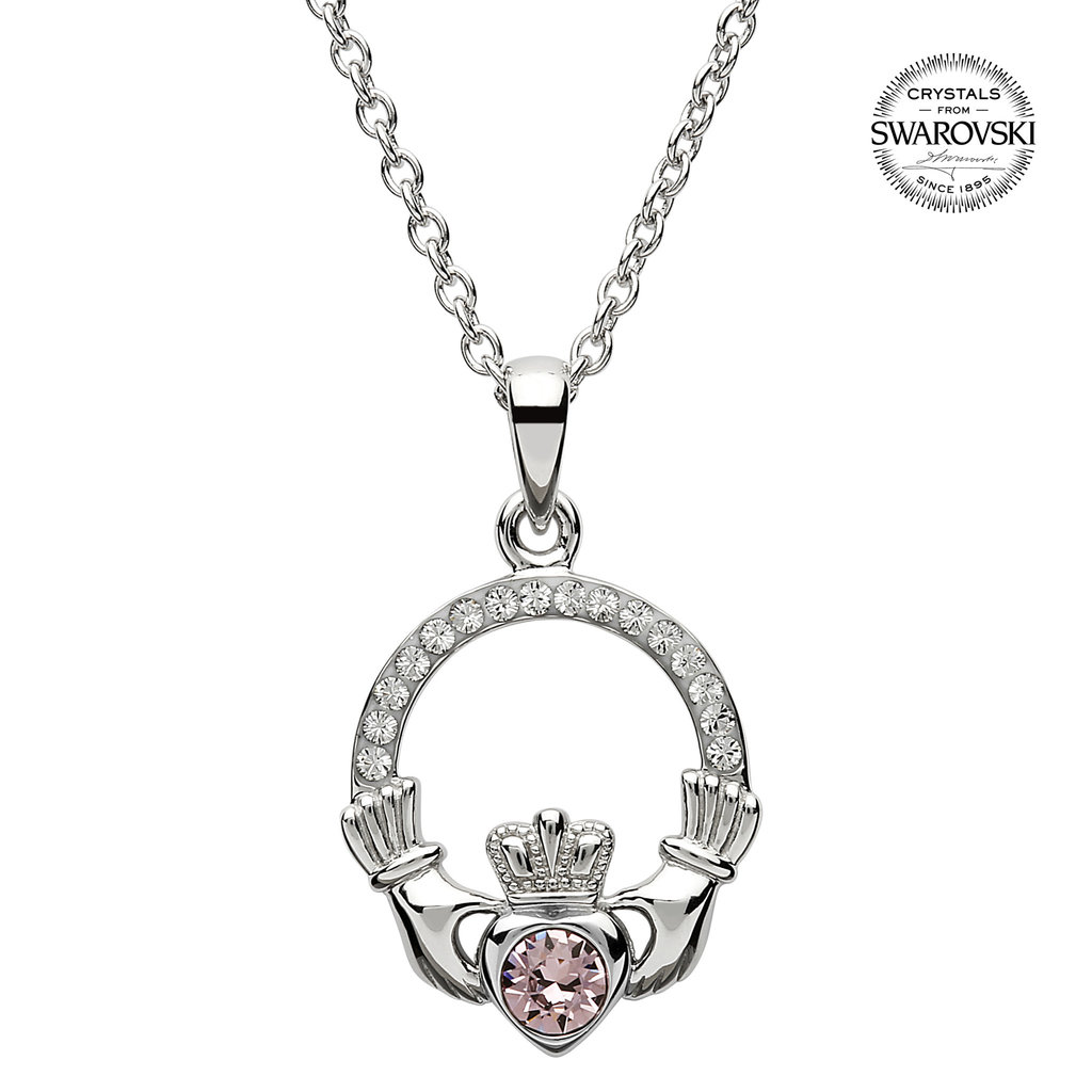 ShanOre ShanOre Claddagh Birthstone June Pendant Adorned with Swarovski Crystal