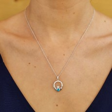 ShanOre ShanOre Claddagh Birthstone December Pendant Adorned with Swarovski Crystal