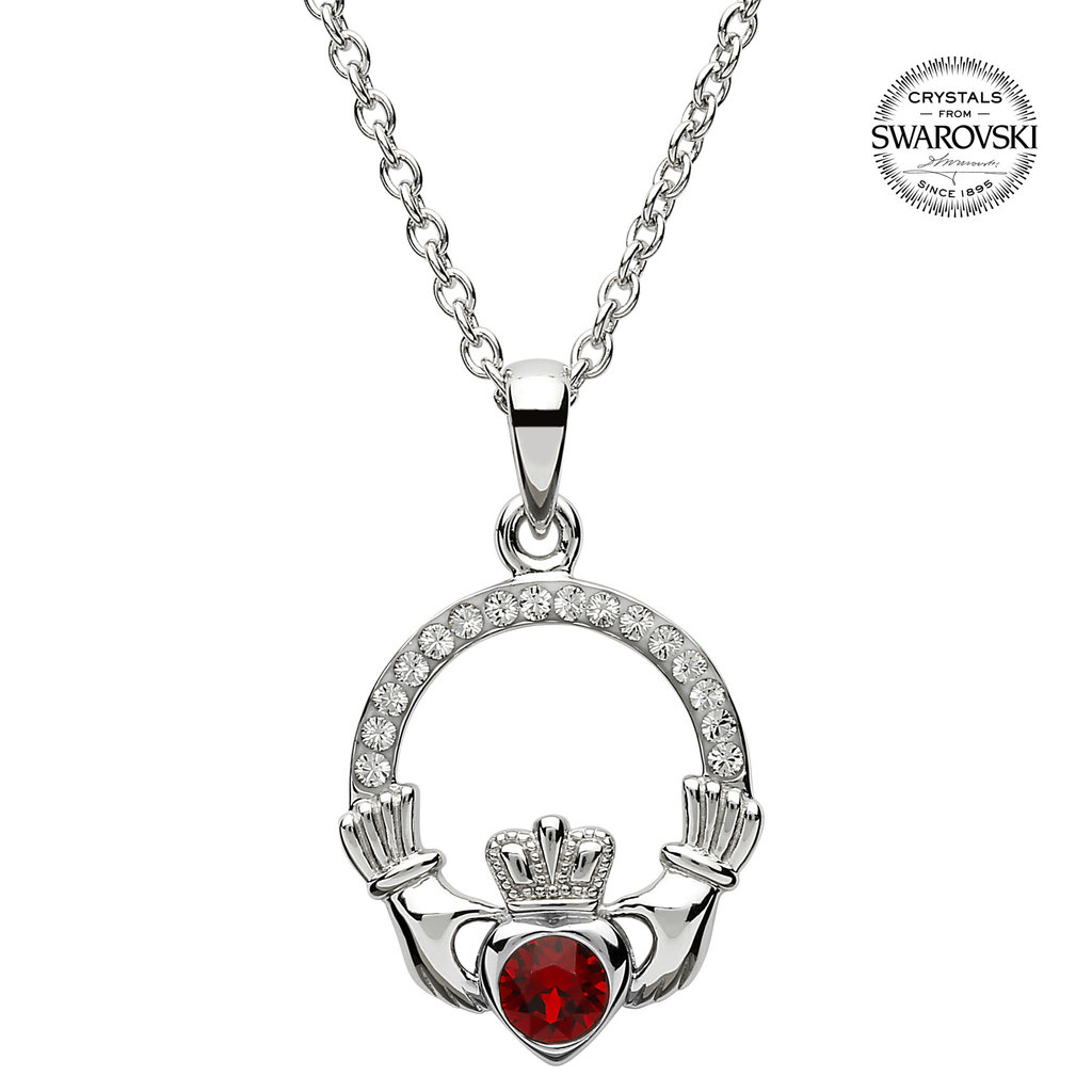 ShanOre ShanOre Claddagh Birthstone January Pendant Adorned with Swarovski Crystal
