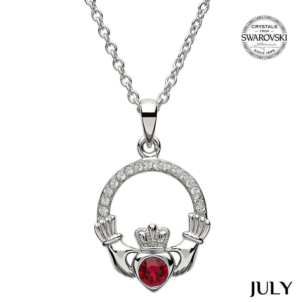 ShanOre ShanOre Claddagh Birthstone July Pendant Adorned with Swarovski Crystal