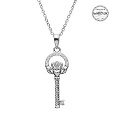 ShanOre ShanOre Sterling Silver Claddagh Key Necklace with SW Crystals
