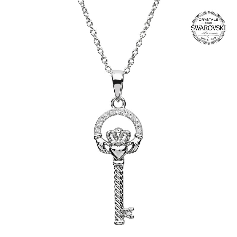 ShanOre Silver Claddagh Key Pendant Encrusted With Swarovski Crystals