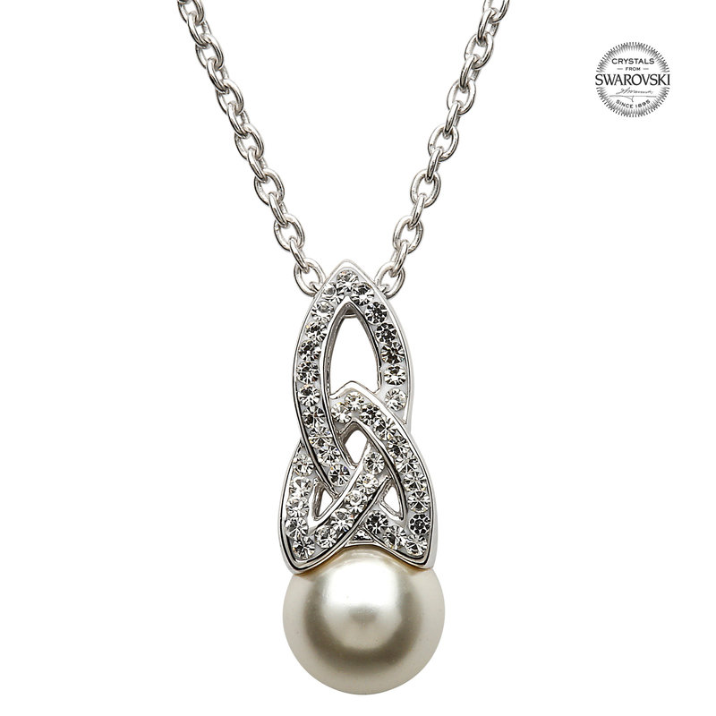 ShanOre Celtic Pearl Necklace Adorned by Swarovski Crystals