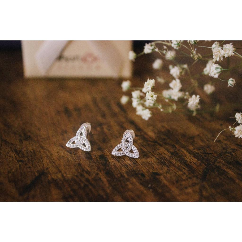 ShanOre ShanOre Sterling Silver White Swarovski Crystal Trinity Stud Earring