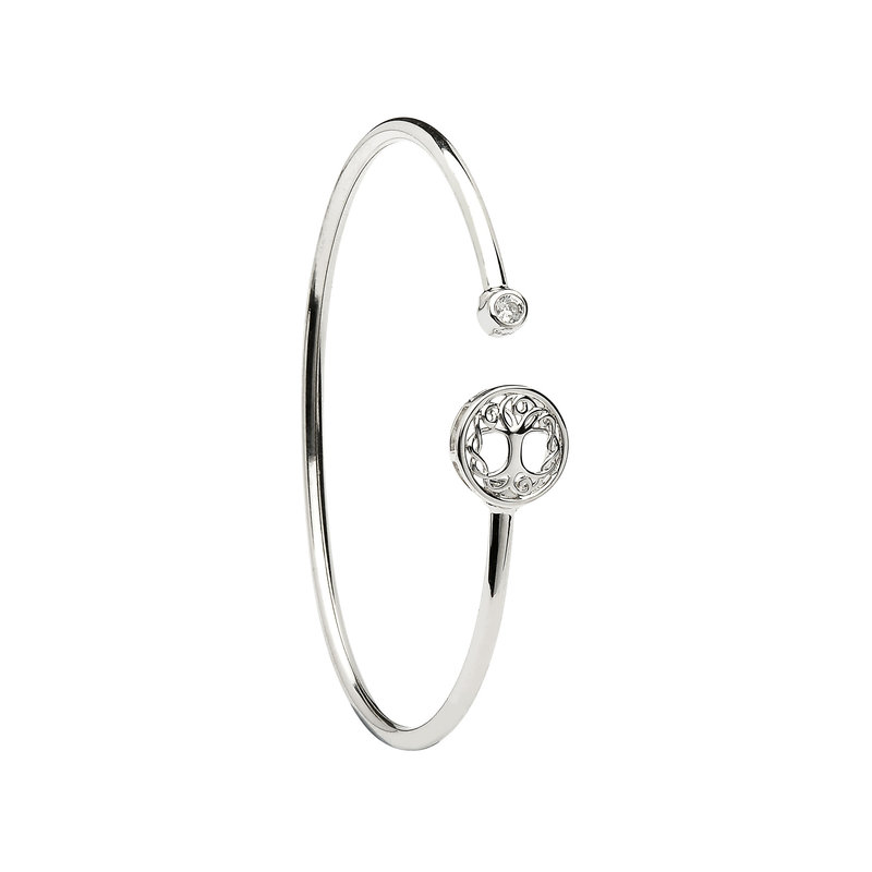 ShanOre Sterling Silver Tree of Life CZ Bangle