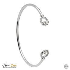ShanOre ShanOre Sterling Silver Swarovski Claddagh Cuff Bangle