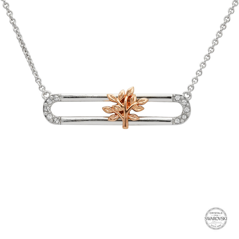 ShanOre Sterling Silver Rose Gold Plated Tree of Life Slider Necklace