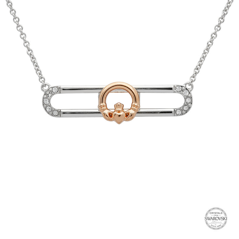 ShanOre Sterling Silver Rose Gold Plated Claddagh Slider Necklace