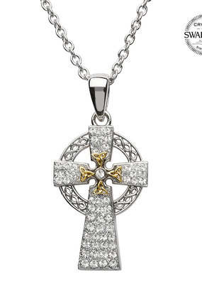 ShanOre ShanOre Sterling Silver GP Celtic Cross with SW Crystals