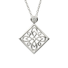 ShanOre ShanOre Celtic Intricate Silver Pendant set with CZ