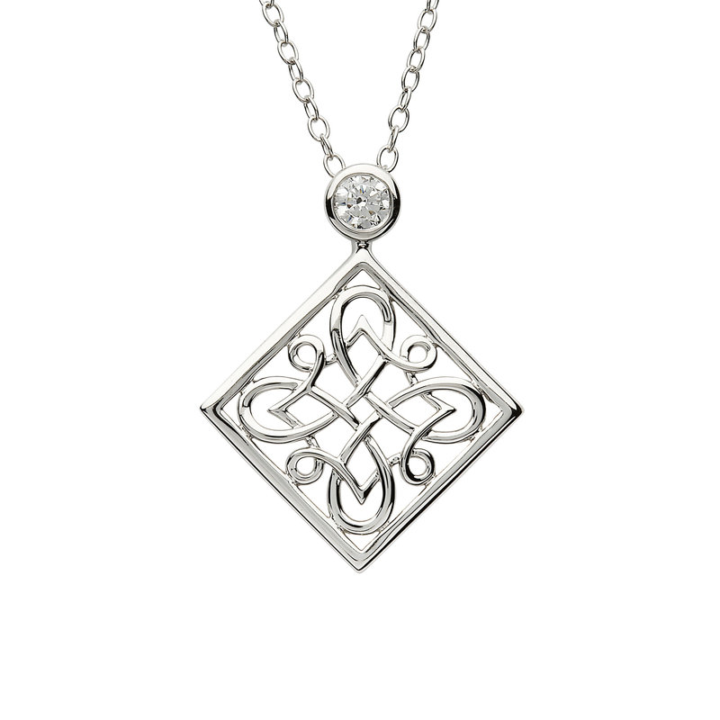 ShanOre Celtic Intricate Silver Pendant set with CZ