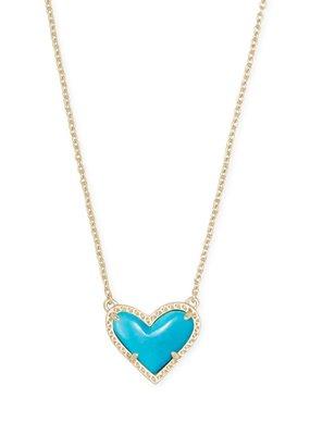Kendra Scott Kendra Scott Ari Heart Short Pendant Gold Turquoise