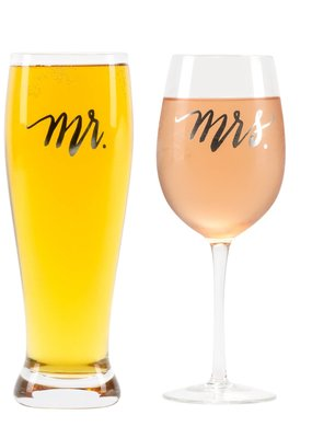 About Face Designs About Face Mr & Mrs Wine/Pilsner Glass Set