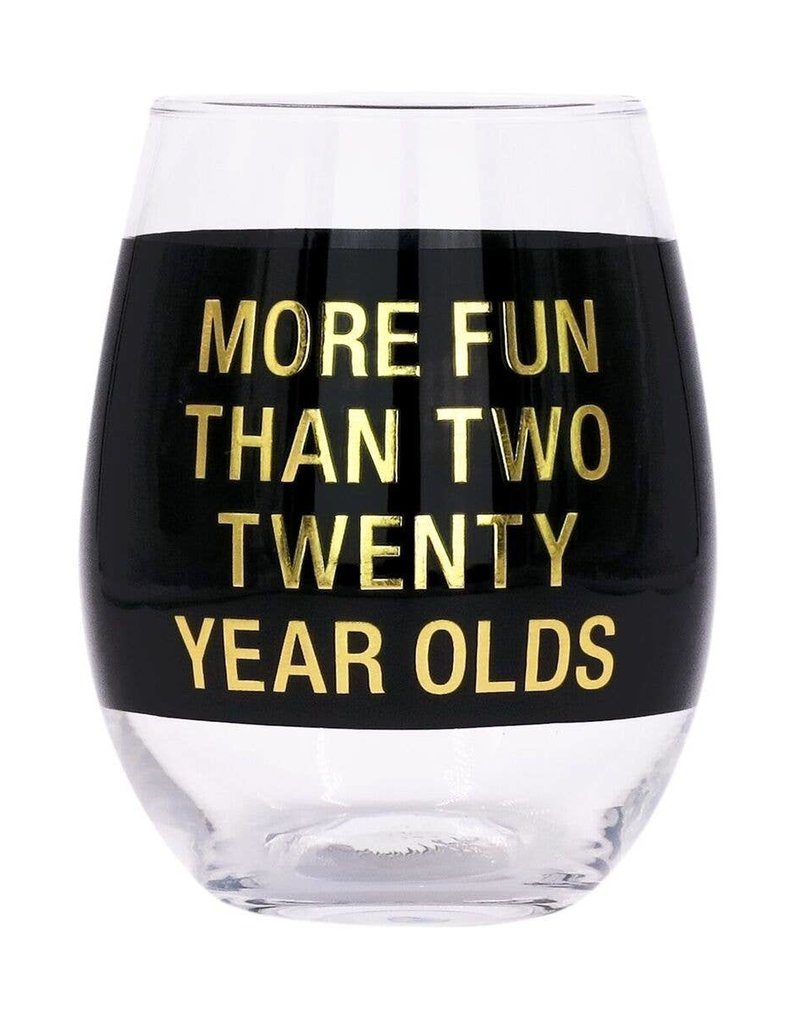 About Face Designs About Face 2 Twenty Year Olds Wine Glass