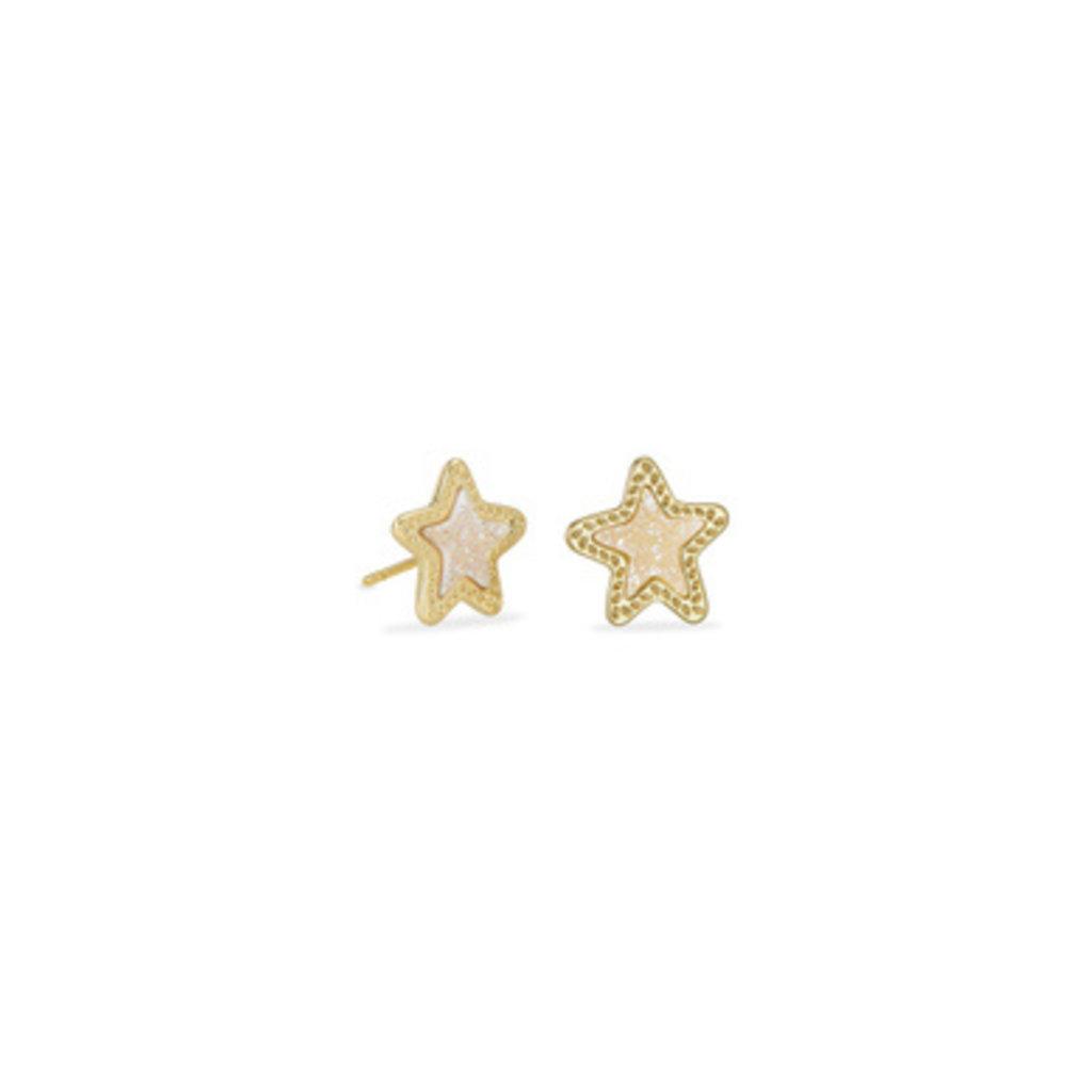 Kendra Scott Kendra Scott Jae Star Stud Earrings Gold Iridescent Drusy