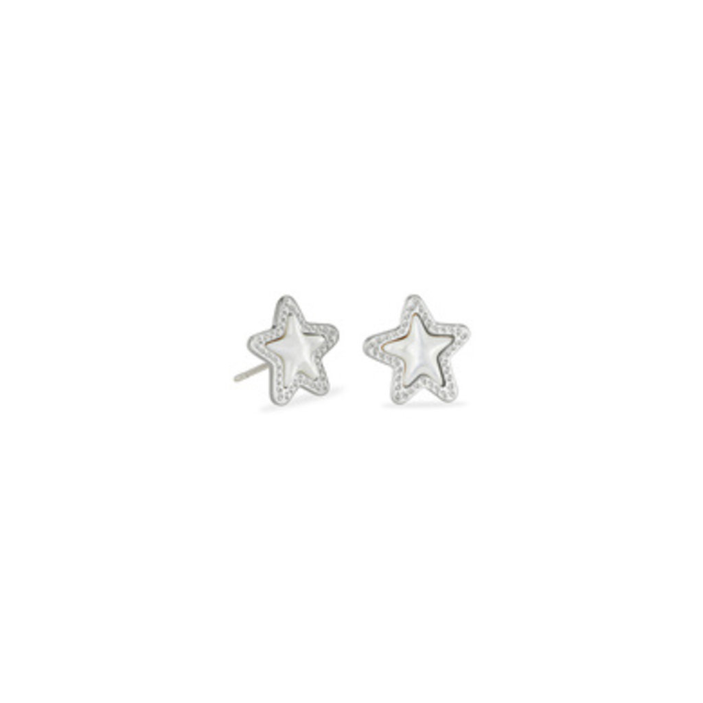 Kendra Scott Kendra Scott Jae Star Stud Earrings in Silver Ivory Mother of Pearl