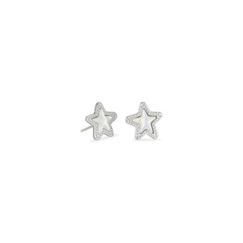 Kendra Scott Jae Star Stud Earrings in Silver Mother of Pearl