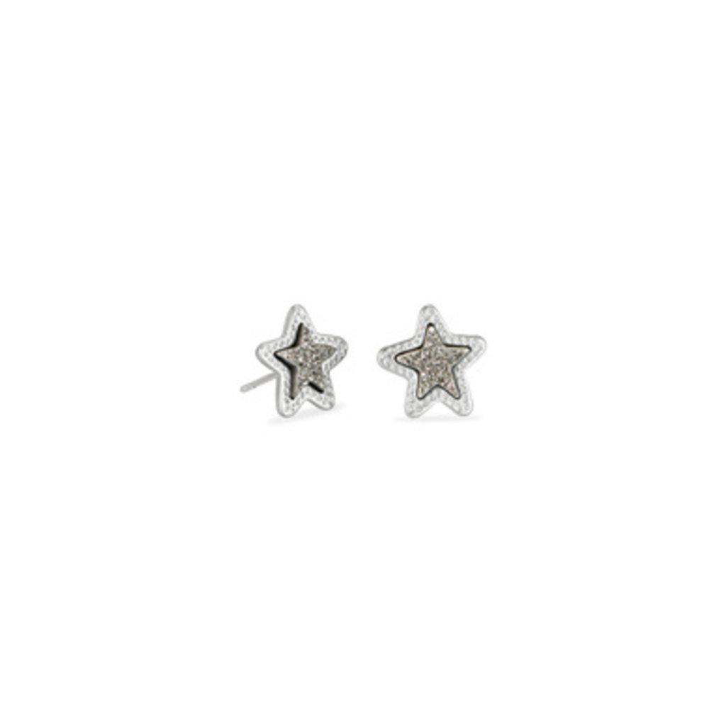 Kendra Scott Kendra Scott Jae Star Stud Earrings in Silver Platinum Drusy