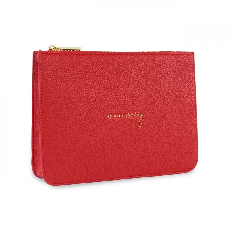 Structured Pouch So Very Merry - Red
