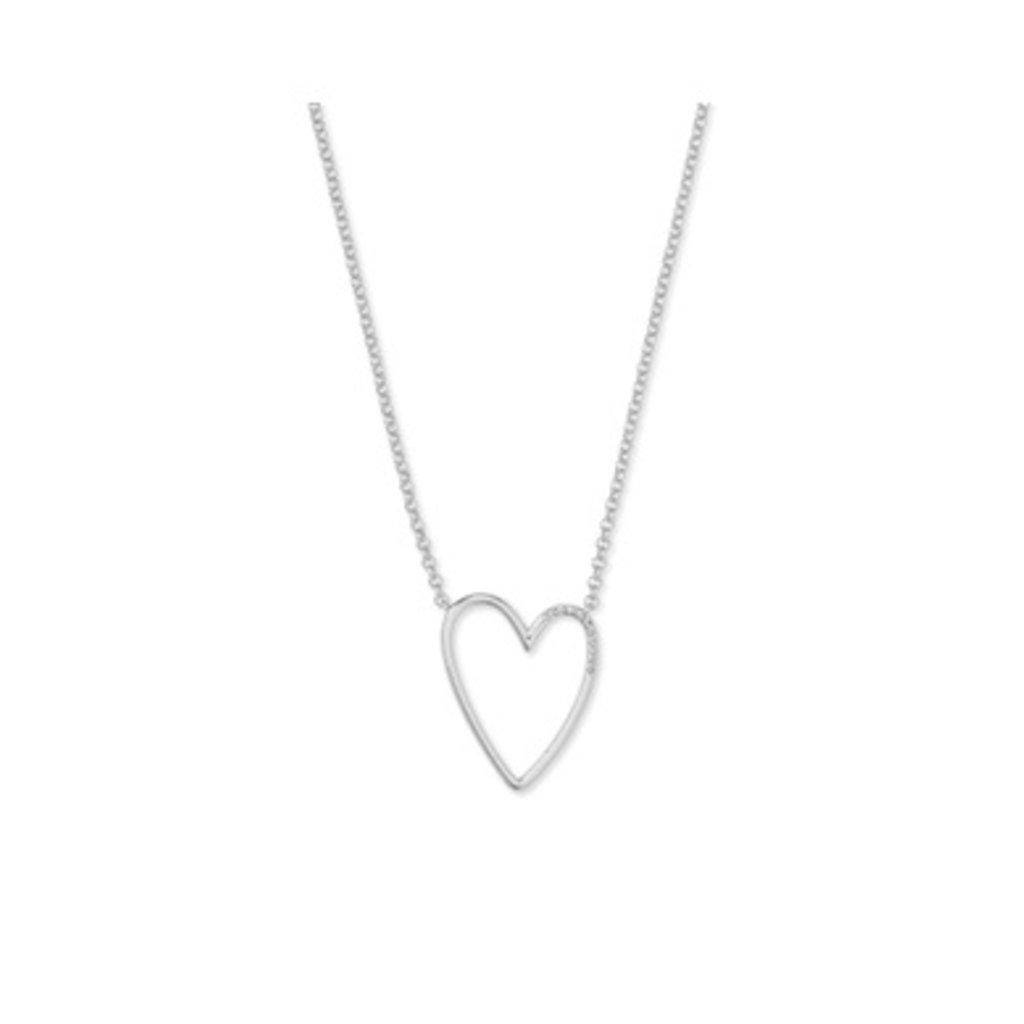 Kendra Scott Ansley Long Pendant Necklace Rhodium Metal White CZ