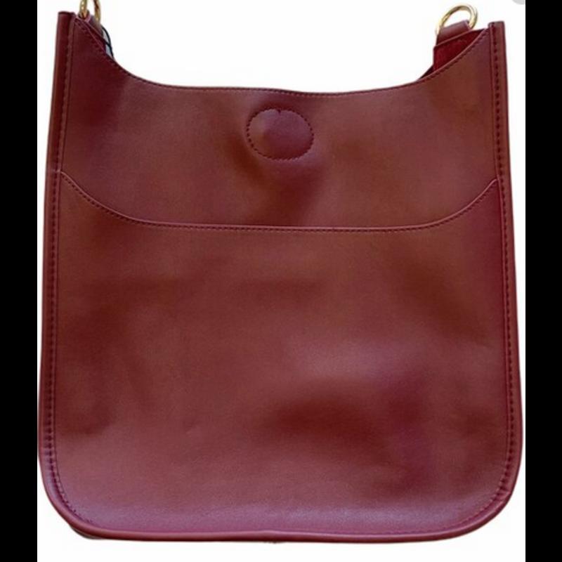 Ahdorned Classic Soft Faux Leather Messenger Bag - Burgundy
