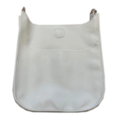 Ahdorned Ahdorned Classic Soft Faux Leather Messenger Bag - White