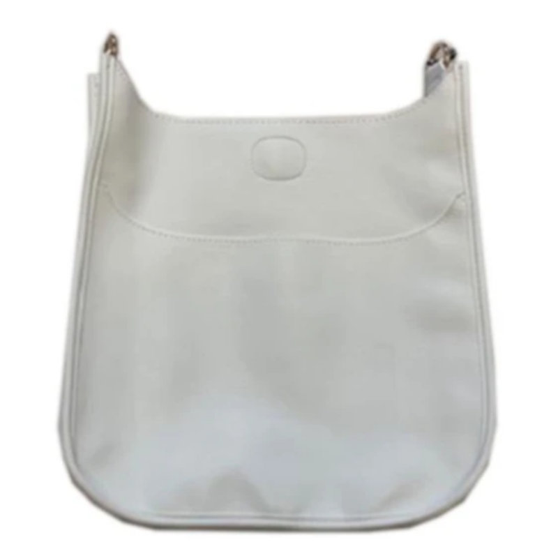 Ahdorned Classic Soft Faux Leather Messenger Bag - White