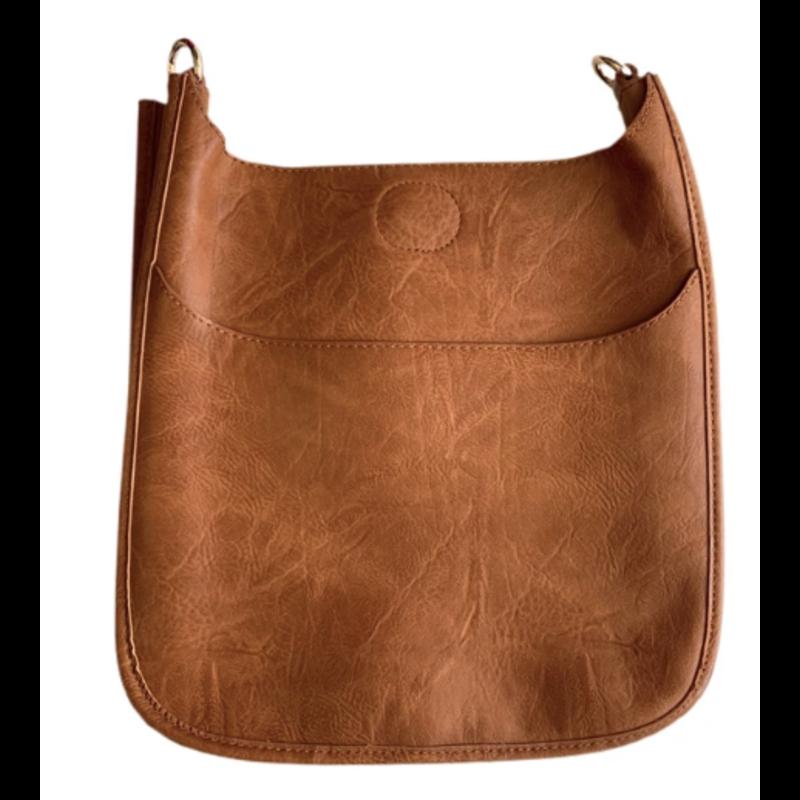 Ahdorned Classic Vegan Leather Messenger Bag - Camel