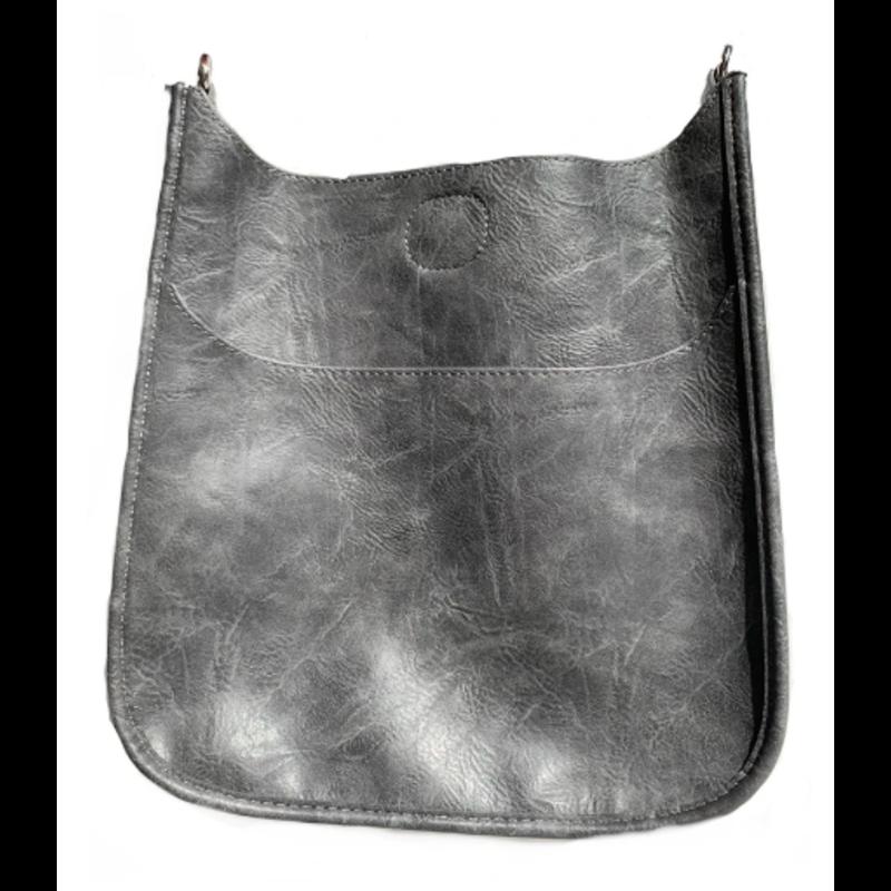 Ahdorned Classic Vegan Leather Messenger Bag - Grey