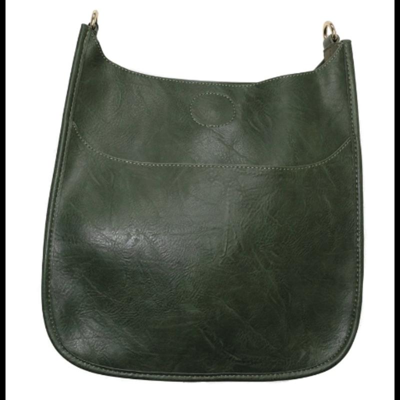 Ahdorned Classic Vegan Leather Messenger Bag - Dark Green