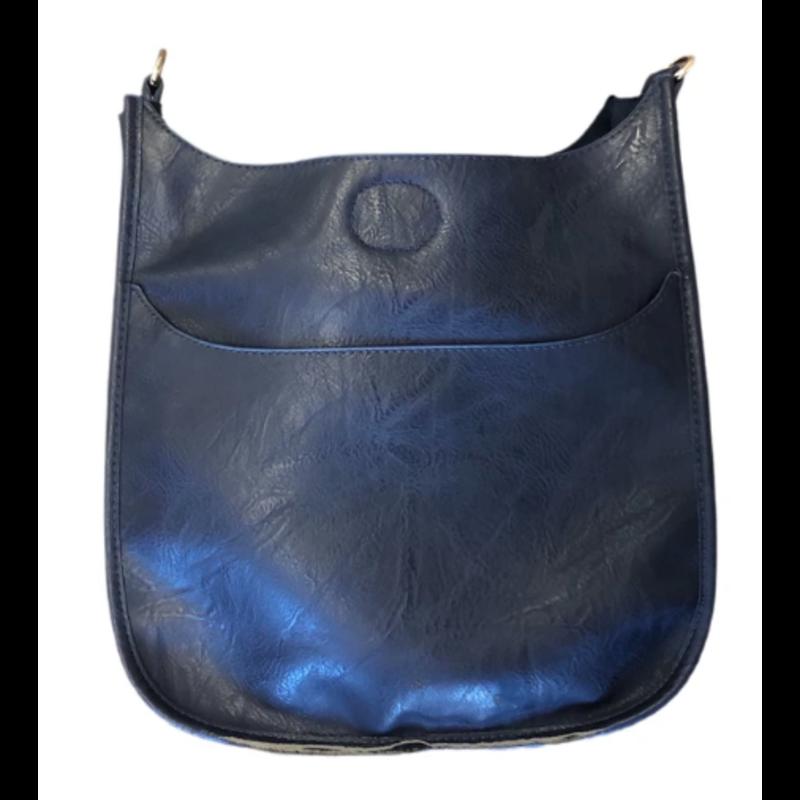 Ahdorned Classic Vegan Leather Messenger Bag - Navy