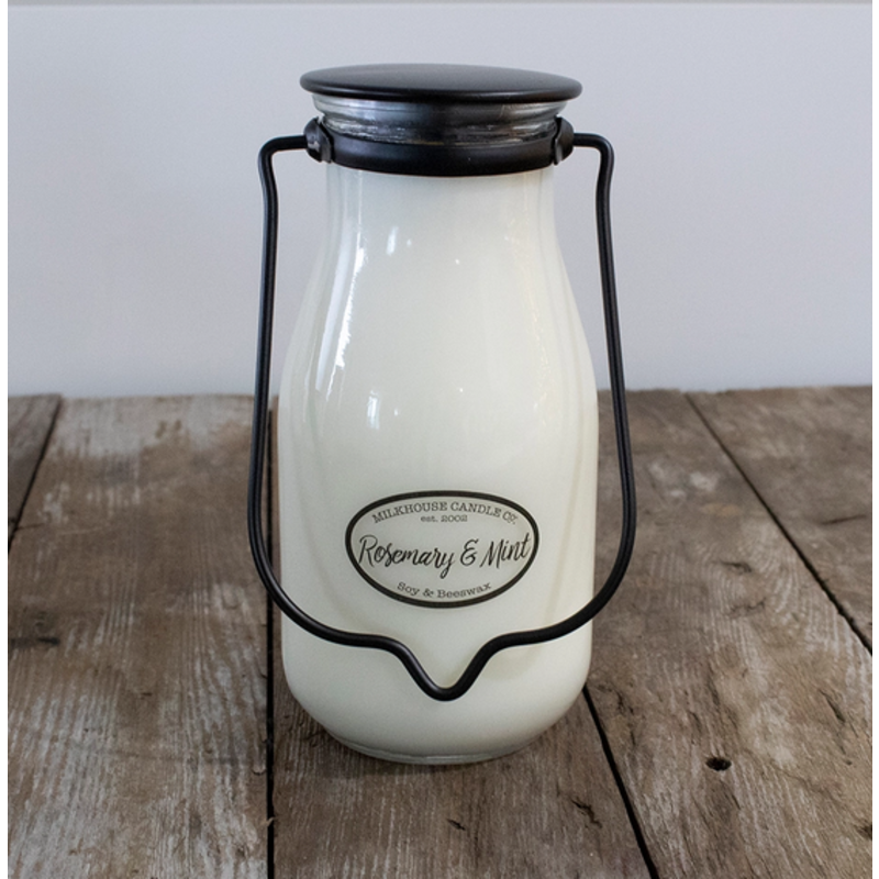 Milkhouse Candle Creamery Rosemary & Mint Milkbottle Pint Candle
