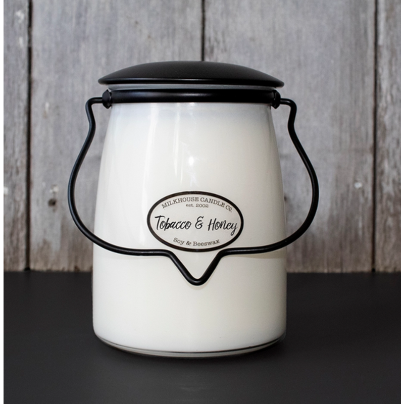 Milkhouse Candle Creamery Tobacco & Honey 22 oz Butter Jar Candle