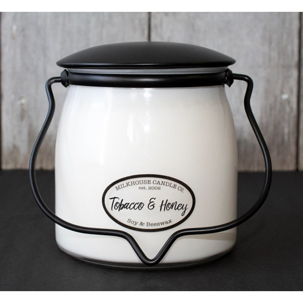 Milkhouse Candle Creamery Tobacco & Honey 16 oz  Butter Jar Candle