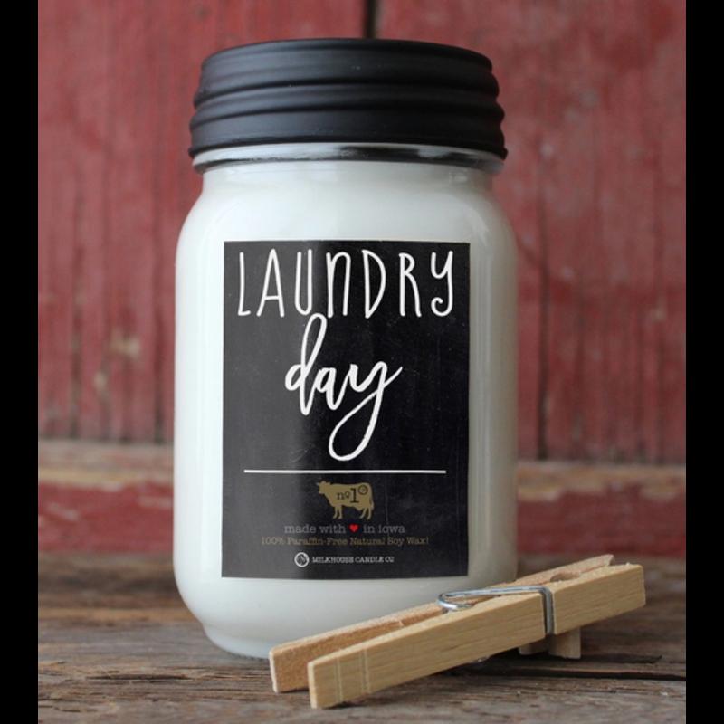 Milkhouse Candle Creamery Laundry Day 13 oz Mason Jar Candle