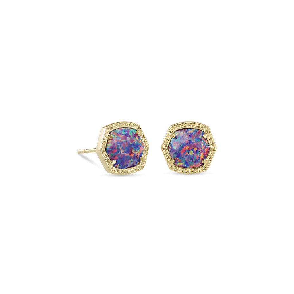 Kendra Scott Kendra Scott Davie Stud Earrings in Gold Lavender Kyocera Opal