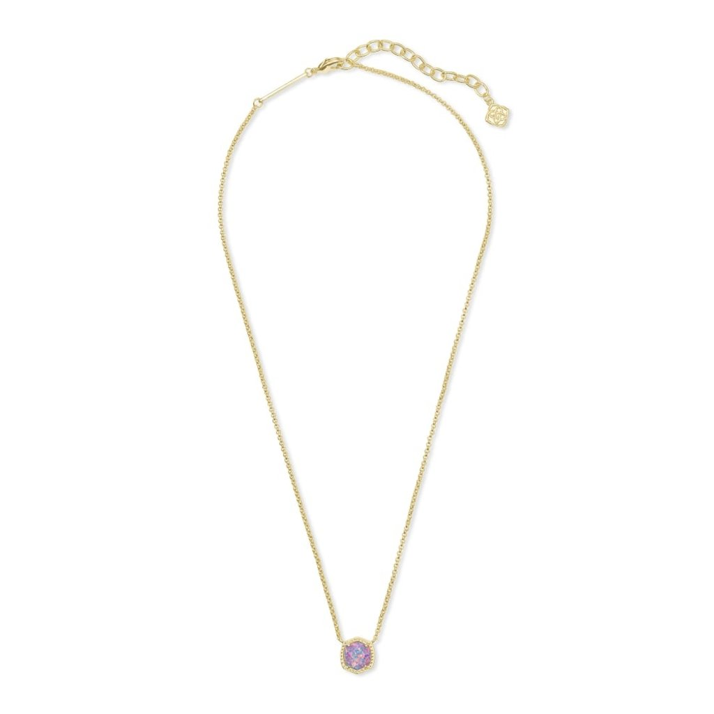 Kendra Scott Kendra Scott Davie Pendant Necklace in Gold Lavender Kyocera Opal