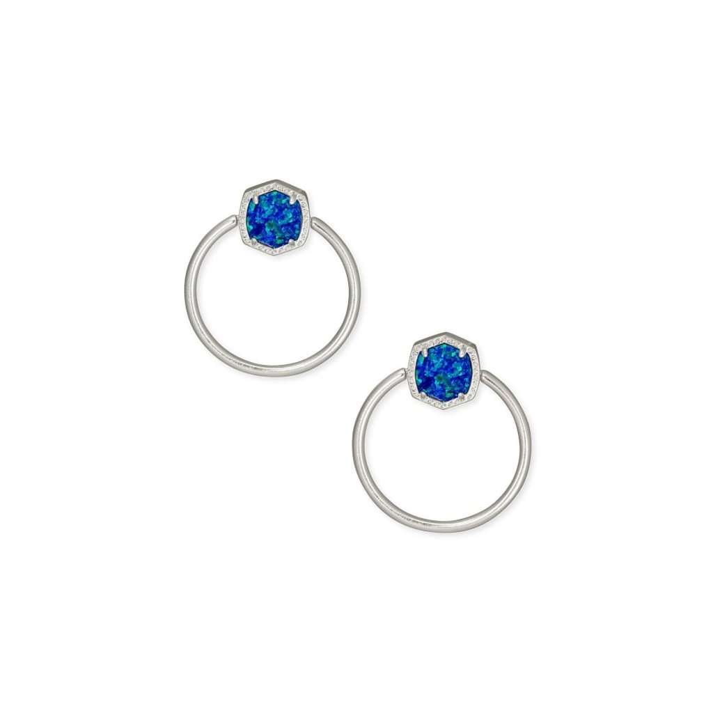 Kendra Scott Kendra Scott Davie Hoop Earrings In Silver Royal Blue Kyocera Opal