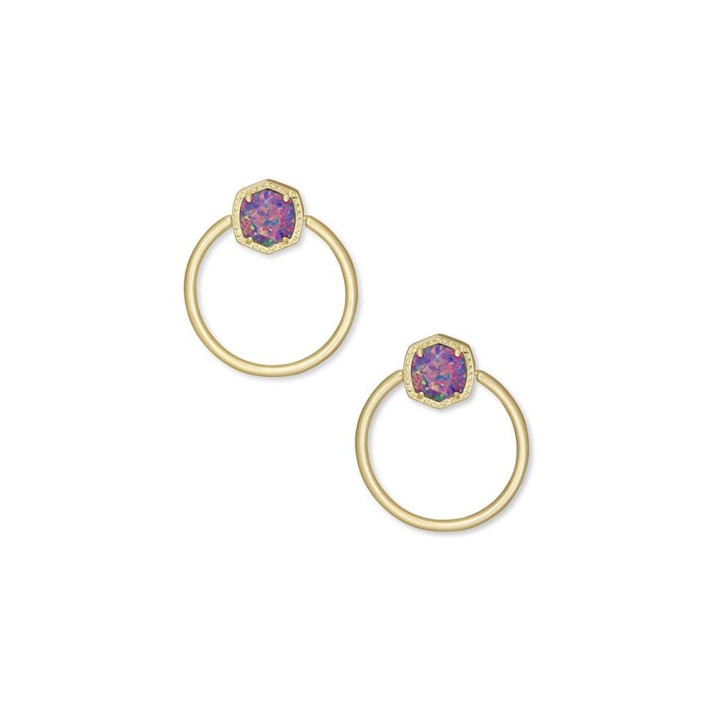 Kendra Scott Kendra Scott Davie Hoop Earrings in Gold Lavender Opal