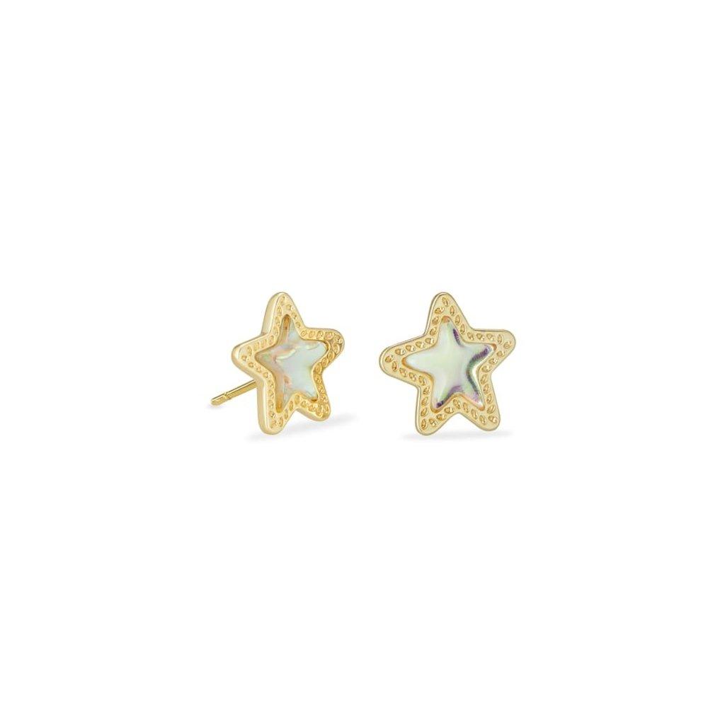 Kendra Scott Kendra Scott Jae Star Stud Earring in Gold Dichroic Glass