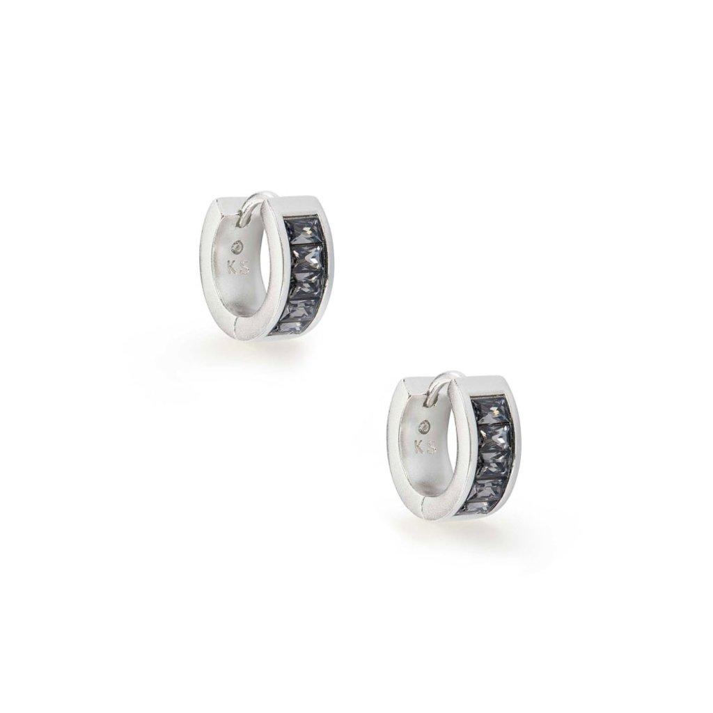 Kendra Scott Kendra Scott Jack Huggie Earrings in Silver Gray Crystal