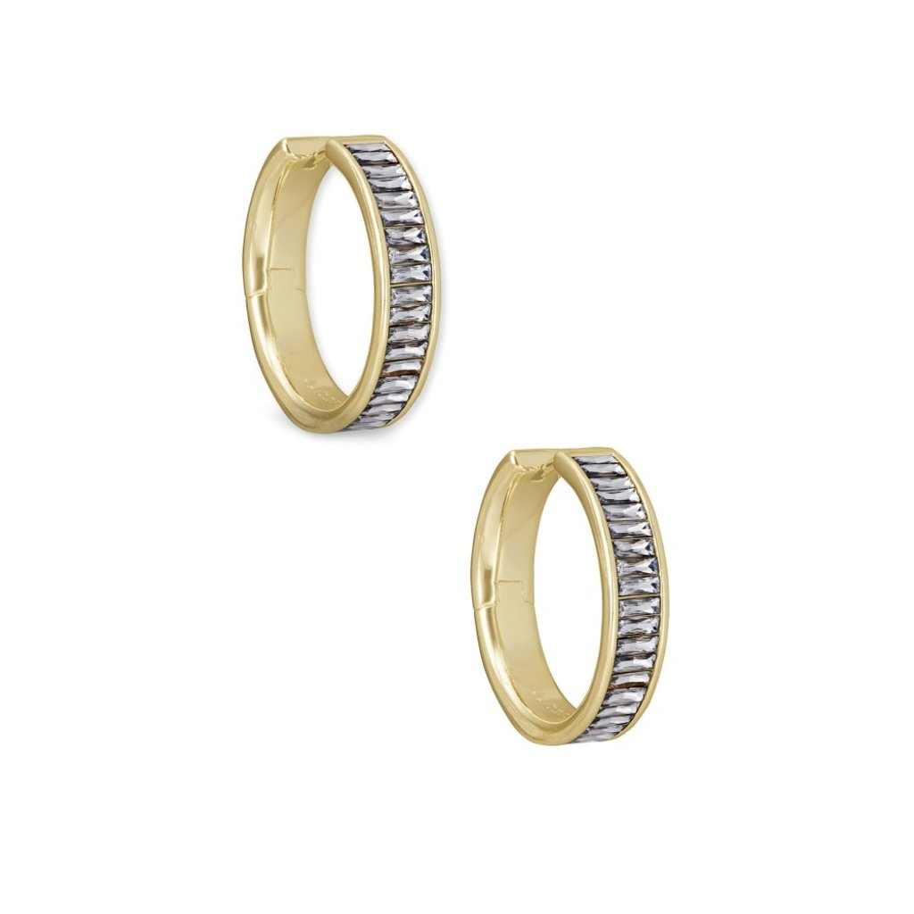 Kendra Scott Kendra Scott Jack Hoop Earrings in Gold Clear Crystal