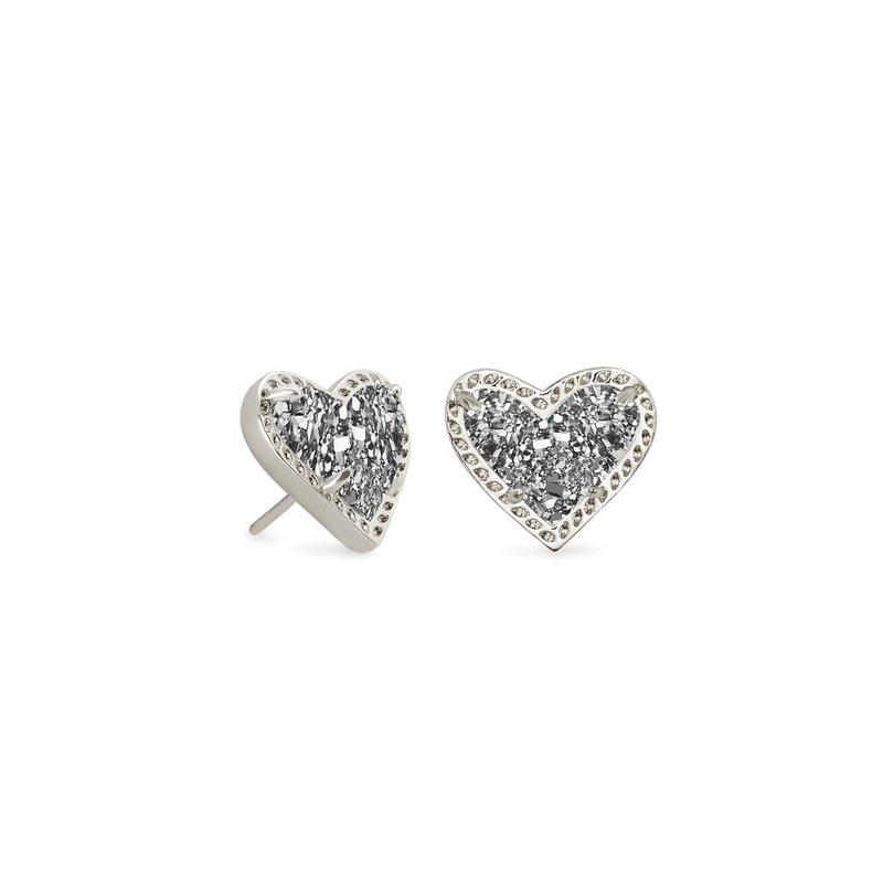 Kendra Scott Ari Heart Stud Earrings in Silver Platinum Drusy