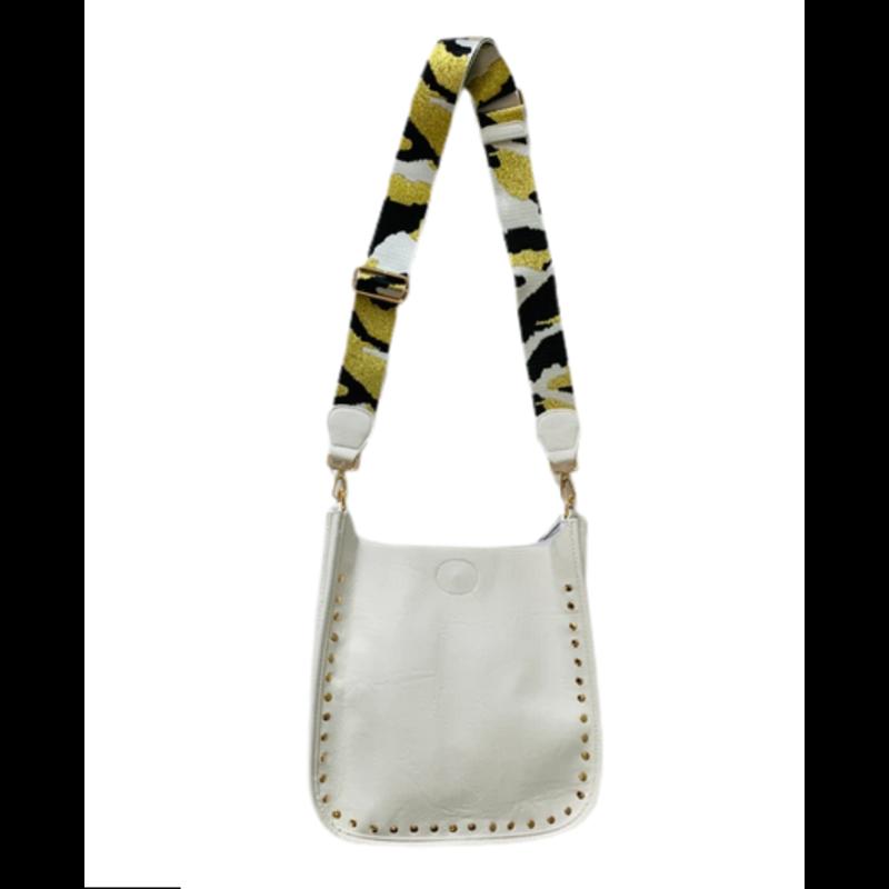 Ahdorned White Vegan Gold Stud Messenger Bag w/  Adjustable Camouflage Strap