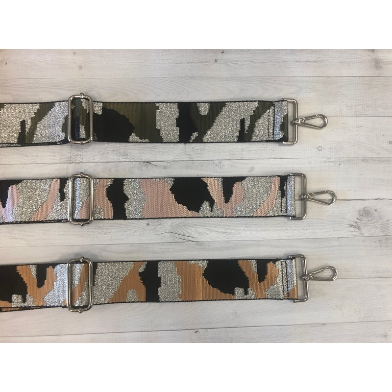 Ahdorned Silver Ground Camouflage Adjustable Bag Strap
