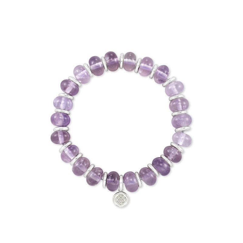 Kendra Scott Rebecca Stretch Bracelet in Silver Purple Amethyst
