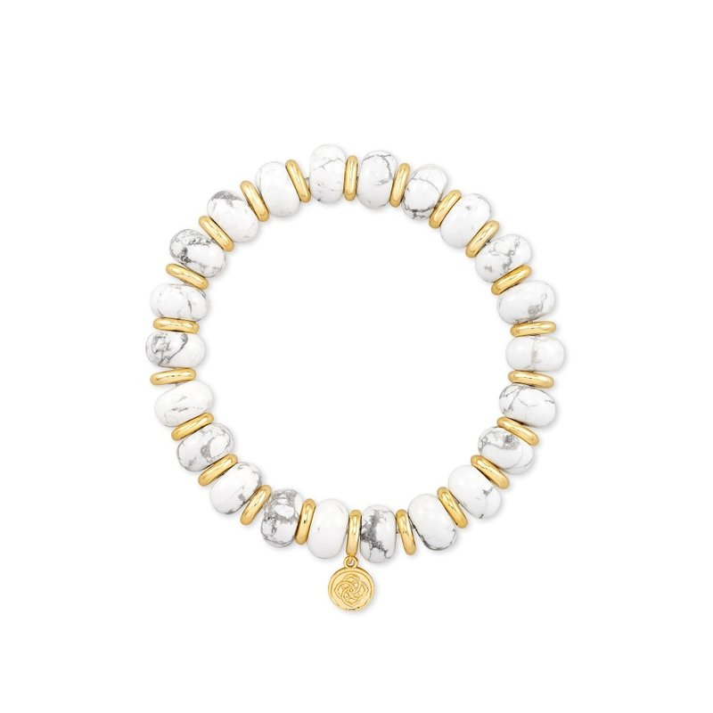 Kendra Scott Rebecca Stretch Bracelet in Gold White Howlite