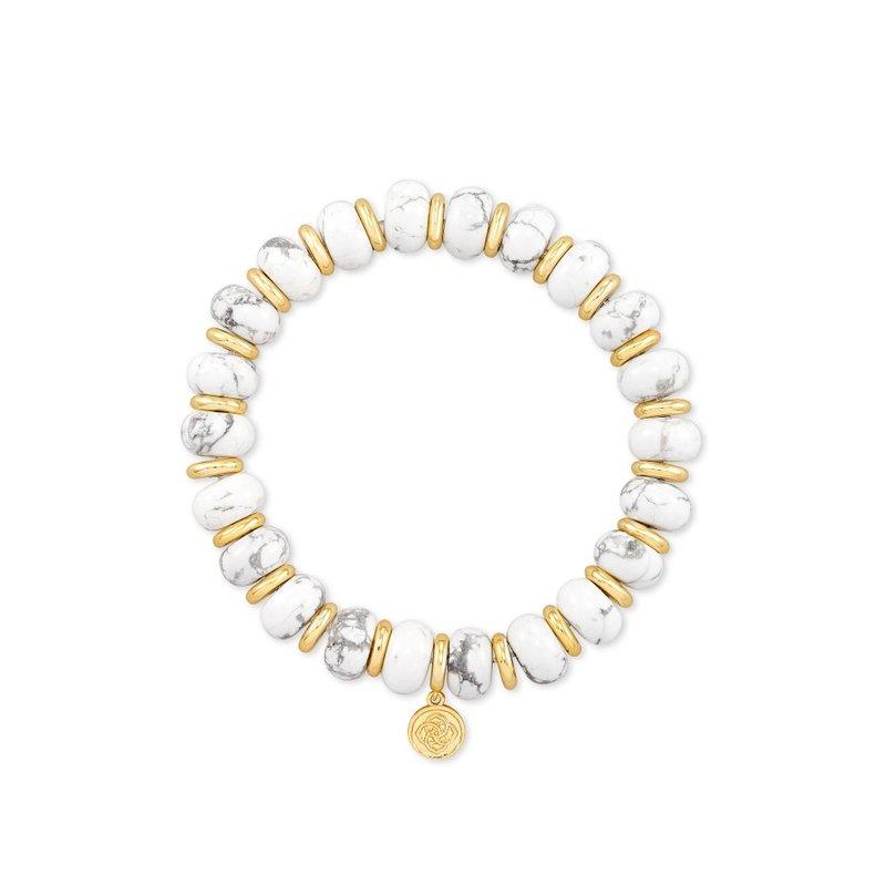 Kendra Scott Rebecca Stretch Bracelet in Gold White Howlite