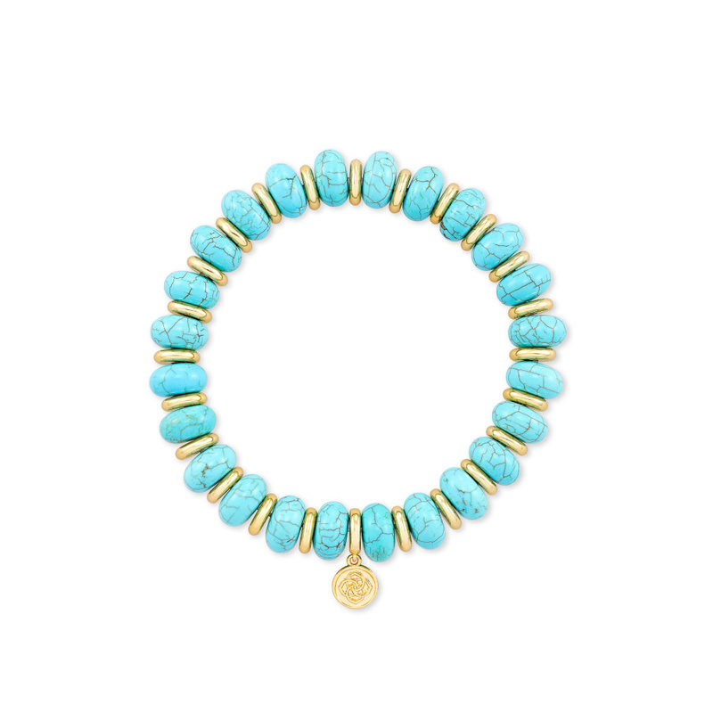Kendra Scott Rebecca Stretch Bracelet in Gold Variegated Turquoise