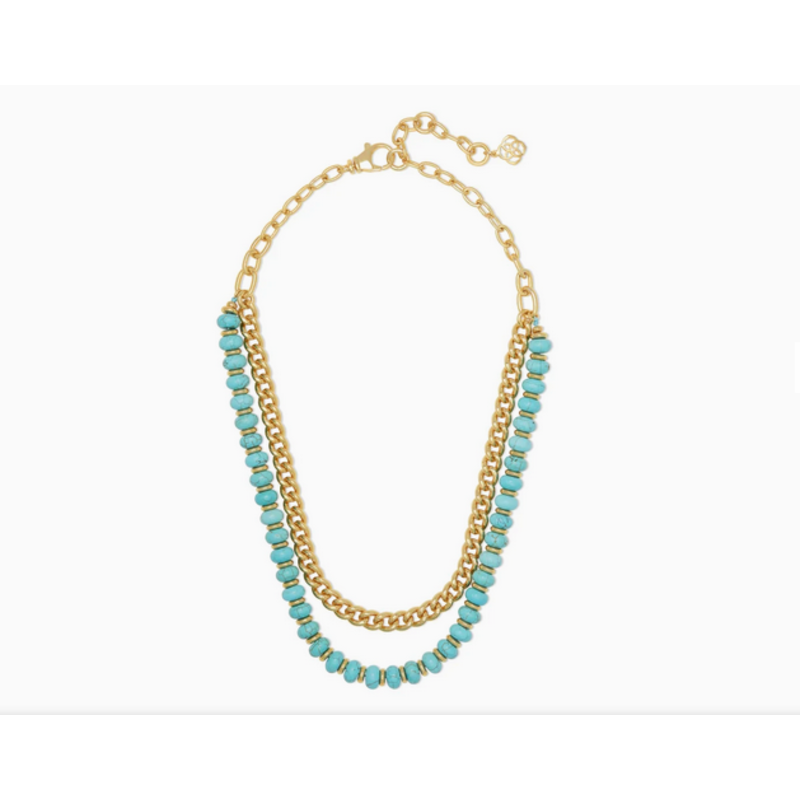 Kendra Scott Rebecca Multi Strand Necklace in Gold Variegated Turquoise